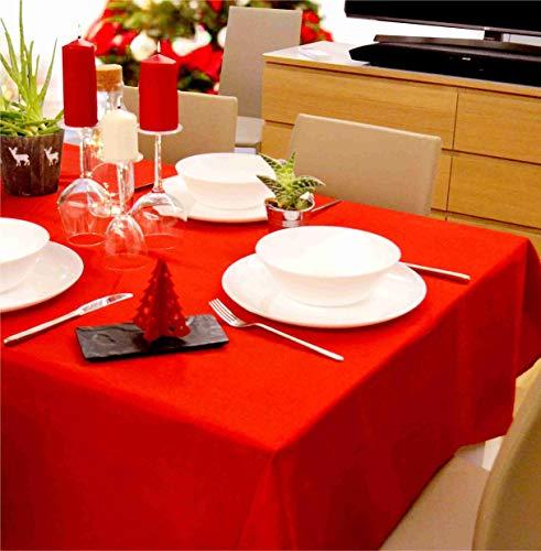 Quadratische Weihnachtstischdecke, 140 x 140 cm, bügelfrei, schmutzabweisend, wasserabweisend, Leinenoptik, Farbe Rot, Granatapfelrot, elegant und modern