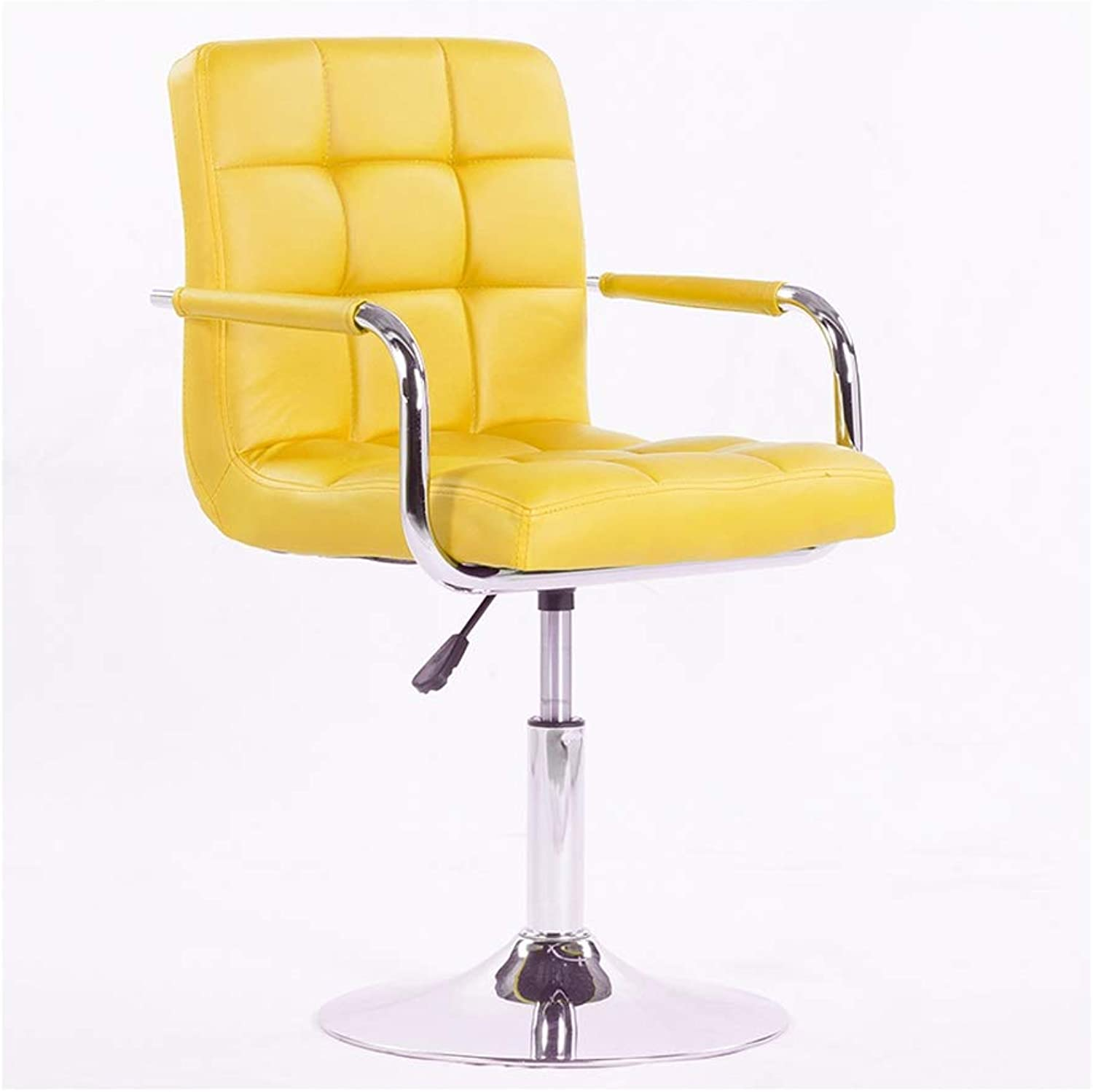 Boss Stool Home redating Back Bar Chair High Elastic Sponge Filled Computer Chair PU Leather 9 color 41cm  82-94cm (color   Yellow)