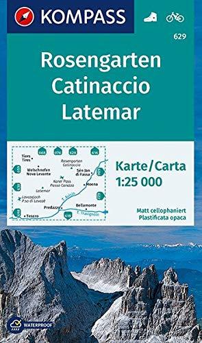KOMPASS Wanderkarte Rosengarten, Catinaccio, Latemar: Wanderkarte mit Radrouten. GPS-genau. 1:25000 (KOMPASS-Wanderkarten, Band 629)