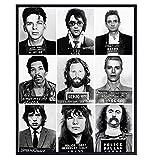 Musician Mugshot Photo Wall Art - 8x10 Poster Print - Gift for Johnny Cash, Jimi Hendrix, David Bowie, Elvis, Mick Jagger, Janice Joplin, Frank Sinatra, Jim Morrison Fan - Unframed Home Decor