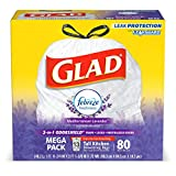 Glad Tall Kitchen Drawstring Trash Bags - OdorShield 13 Gallon White Trash Bag, Febreze Mediterranean Lavender - 80 Count (Packaging May Vary) (3 Pack(80 Count))