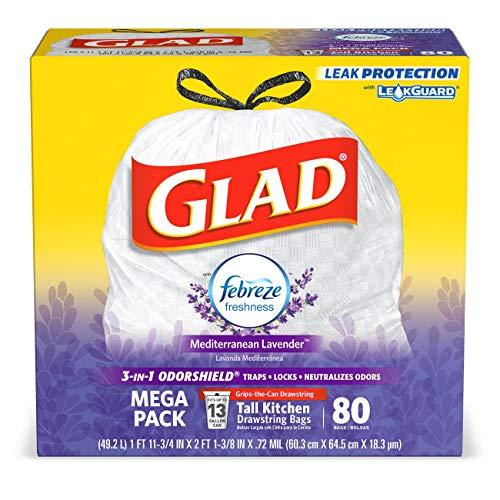 Glad Tall Kitchen Drawstring Trash Bags - OdorShield 13 Gallon White Trash Bag, Febreze Mediterranean Lavender - 80 Count (Packaging May Vary)