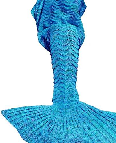 LAGHCAT Mermaid Tail Blanket Knit Crochet Mermaid Blanket for Adult, Oversized Sleeping Blanket, Wave Pattern (71 x 35.5 Inch, Peacock Blue)……