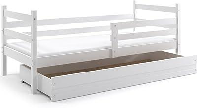 Interbeds Cama Individual Eric, Color Blanco, con colchón de Espuma 190x80, con somier y cajón Gratis