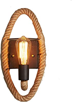 Hemp Rope Wall Light, Gfeu Vintage Wall Lamp Industrial Bronze Lampholder Hanging Wall Sconce with Hemp Rope Deco for Kitchen,Dining Room,Bathing Room, Living Room,Hallway and Bar (Oval)