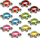 QUCHENG Anillo de Campana de muñeca con Velcro de Nailon para bebés, Anillo de Serpiente de Cascabel, Pulsera de Juguete, Color Aleatorio, Pulsera de Campana de Longitud Ajustable (Paquete de 12)