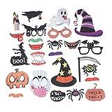 IMIKEYA 26 Piezas de Accesorios de Cabina de Fotos de Halloween Sombrero de Bruja Calabaza Murciélago Decoración de Fiesta de Lujo Suministro de Decoración de Fotografía Kit para Niños