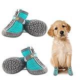 Dociote Zapatos para perros pequeños, antideslizantes, con correas reflectantes, malla suave, transpirable, ajustable, con cremallera, para perros pequeños y medianos, 4 unidades, color azul
