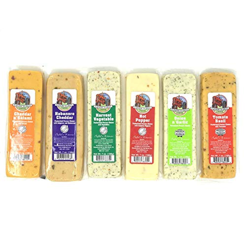 Farmers' Market Wisconsin Cheese Variety Pack - Six 7oz Cheese Blocks (Cheddar n' Salami, Habanero Cheddar, Harvest Vegetable, Hot Pepper, Onion n' Garlic, & Tomato Basil)
