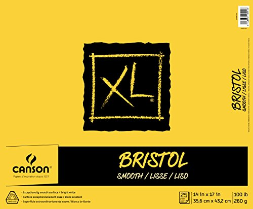 Canson XL Series Bristol Pad, Heavyweight Paper for Ink, Marker or Pencil, Smooth Finish, Fold Over, 100 Pound, 14 x 17 Inch, Bright White, 25 Sheets
