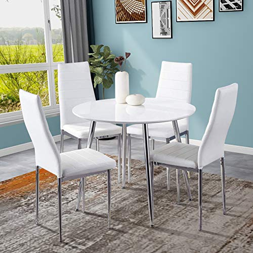 GOLDFAN Round Dining Table and Chairs Set 4 High Gloss Kitchen Table with Soft Leather Chairs Dining Room Set, White
