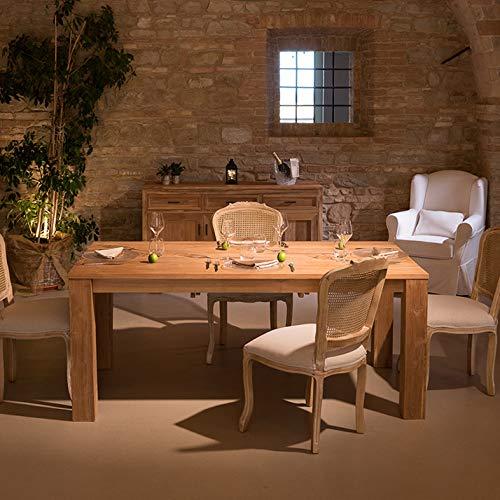Rosa Splendiani Table à Manger Bois Massif Teck Naturel Design Italien 190 x 100 - Outlet