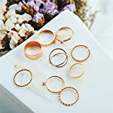 DJDLNK 9Pcs Geometric Twist Ring Set Mujeres Golden Cross Open Ajustar Anillos para Mujeres Crystal Knuckle Ring Mujer Party Rings Regalos