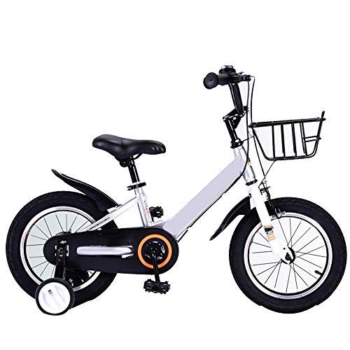 Yummeige Kinderfiets voor kinderen 2-9 jaar cadeau voor kinderen meisjes en jongens 12 14 16 18 inch, kinderfiets met wielen, blauw, rood, zilver 14in zilver.