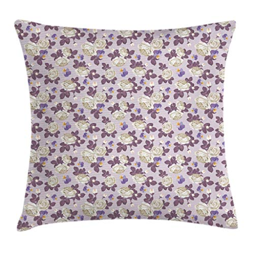 FULIYA Throw Pillow Cases Decorative Soft Square, White Roses with Violet Leaves and Pansies Romantic Garden Retro Bouquets Design,Throw Pillow Cover Cushion Case for Sofa 12x12 Inch
