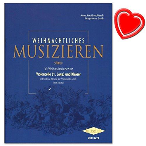 Kerstmuziek - 30 kerstliedjes voor violoncello en piano van Anne Terzibachitsch - met kleurrijke hartvormige muziekklem