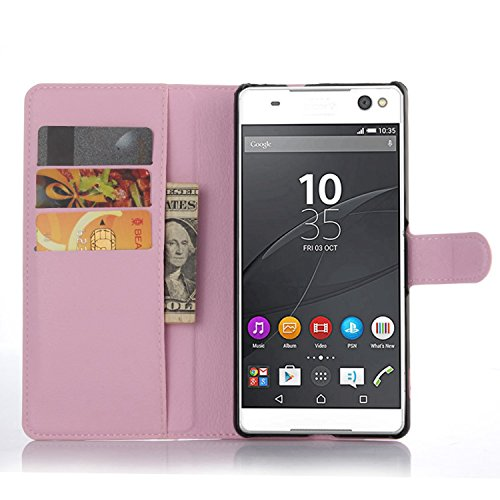 Ycloud Tasche für Sony Xperia C5 Ultra (6 Zoll) Hülle, PU Ledertasche Flip Cover Wallet Hülle Handyhülle mit Stand Function Credit Card Slots Bookstyle Purse Design rosa
