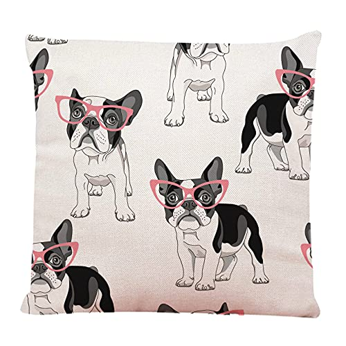 Ofocam Throw Pillow Cover Black Frenchie with Cartoon French Bulldog in Pink Glasses on White Dog Funny Decorative Throw Pillow Cushion Case for Home Decor 18 x 18 Inches