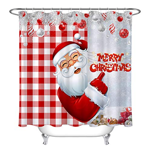 HVEST Santa Claus Shower Curtains Merry Christmas Red Buffalo Check Plaid Xmas Balls Xmas Trees Winter Holiday Curtain Bathroom Curtain with 12 Hooks 69X70Inch Polyester Fabric Waterproof Curtain