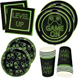 Gift Boutique Video Gaming Party Plates Supplies Set 24 9' Plate 24 7' Plates 24 9 Oz Cups 50 Luncheon Napkins for Gamer Birthday Decorations Gaming Themed Tableware- Level Up Game Over Game On