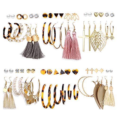 36 Pairs Bohe Earrings Set for Women Girls Fashion Cross Leather Dangle Acrylic Stud Hoop Earrings Jewelry for Birthday/Valentines Day Gifts
