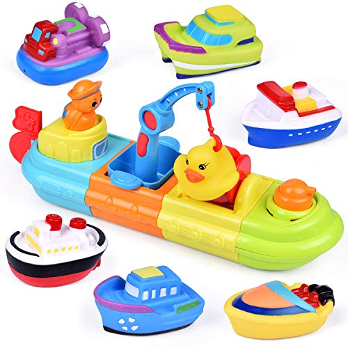 FUN LITTLE TOYS Baby Bath Toys, 7 PCs Toy Boats Include One Big Wind...