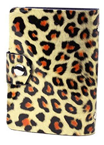 7色 レオパード 豹柄デザインの牛革 26ポケット収納 可愛いエナメル カラフル カードケース 名刺ケース 名刺入れ カード入れ 大容量 女性にも 豹柄がかわいい!26ポケット カードケース 名刺ケース コンパクト かわいい カワイイ オシャレ カード入れ