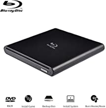 External Blu Ray Drive Portable Blu Ray Player USB 2.0 Slot in BD CD DVD RAM ROM Burner with Eject Button Write CD DVD BD for Notebook Laptop iMac Pro Air (Sliver)