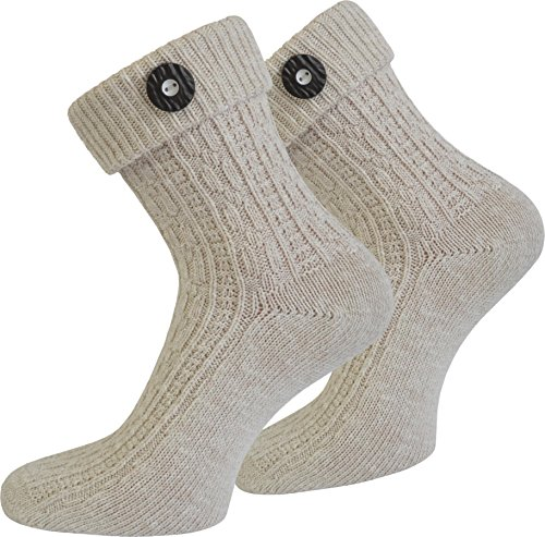 Socken kurz oder Lang für Trachten Lederhose Farben frei wählbar Farbe Naturmelange mit Trachten-Knopf Größe 43/46
