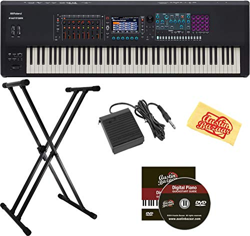 Buy Bargain Roland Fantom 8 Synthesizer Keyboard Bundle with Adjustable Stand, Sustain Pedal, and Au...