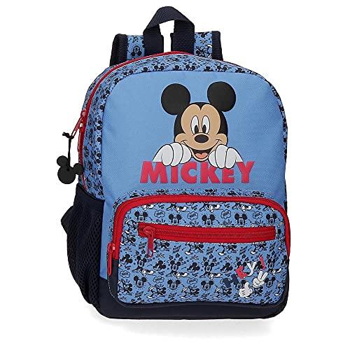 Disney Mickey Moods Sac à dos pour la crèche et la maternelle adaptable au chariot Rouge 23x28x10 cms Polyester 6.44L