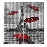 RYQRP Cortinas Dormitorio Moderno Paraguas Rojo Paris Cortinas Opacas en Poliéster Termicas Aislantes Proteccion Intimidad para Habitacion Cocina Salón Decoración 183x214cm