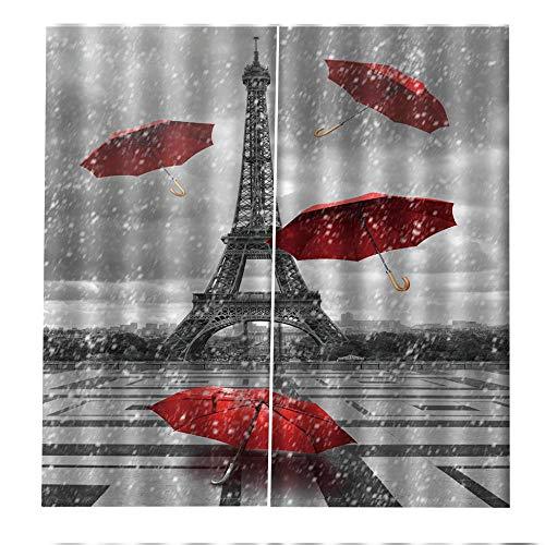 RYQRP Cortinas Dormitorio Moderno Paraguas Rojo Paris Cortinas Opacas en Poliéster Termicas Aislantes Proteccion Intimidad para Habitacion Cocina Salón Decoración 280x250cm