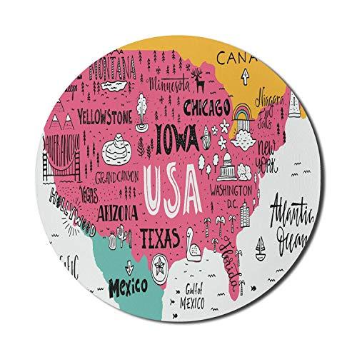 Alfombrilla Redonda para ratón, Alfombrilla de ratón con Mapa de EE. UU. para Ordenadores, caligrafía de Ciudades Americanas en el Plan Arizona New York Chicago, Dibujos Animados, Alfombrilla Redonda
