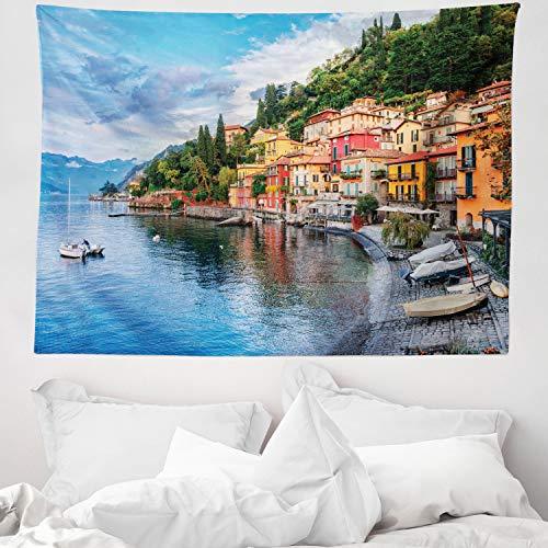 ABAKUHAUS Italien Wandteppich und Tagesdecke, Italienische Häuser Foto, aus Weiches Mikrofaser Stoff Wand Dekoration Für Schlafzimmer, 150 x 110 cm, Mehrfarbig
