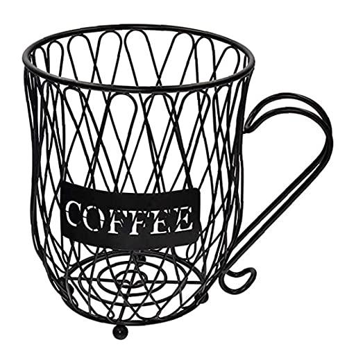 Hainice Café Cesta de Almacenamiento K Copa Creamer, Titular de la Taza de café Organizador de Metal con Mango de la cápsula para Bar Negro