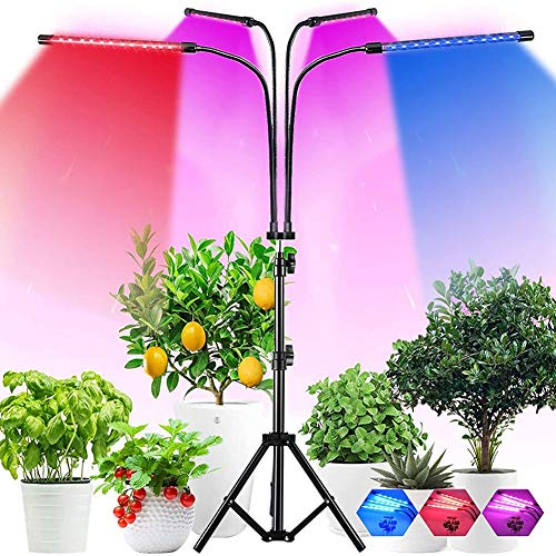 WRQ Grow Light, 40W LED Grow Light with 4/8/12H Cycle Timing, 4-Head Adjustable Gooseneck Plant Light, 10 Dimmable Levels&3 Switch Modes for Indoor Plants