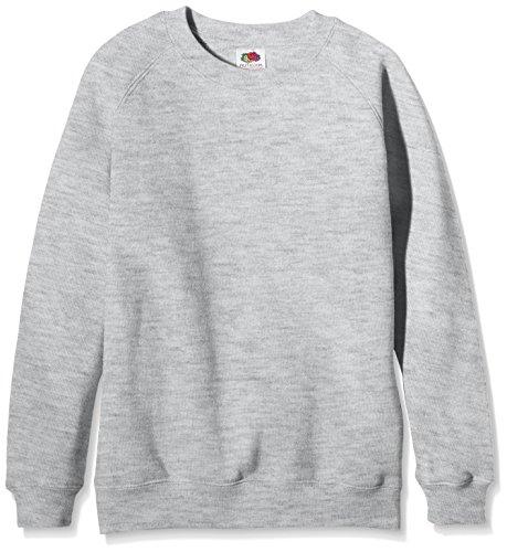 Fruit of the Loom Unisex Kinder Raglan Premium Sweatshirt, grau meliert, 12-13 Jahre