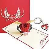 3D Happy Valentine's Day Card Red Heart w/Silver Keychain (Red Heart) Pop Up Novelty Decor for Friends, Spouses, Boyfriends, Girlfriends | Premium Cardstock | 3D Pop Up Card | Valentines Day Card