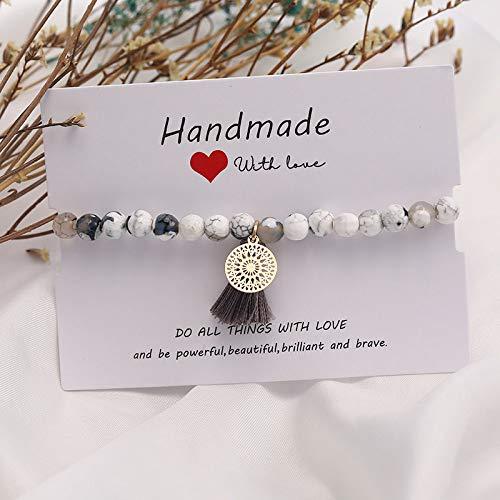 hjkg Beaded Bracelet Bracelet à Breloques Boho Gland 6mm Blanc Coupe Lisse cornaline Bracelets en Pierre Naturelle pour Femmes Bijoux de