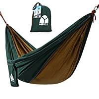 YAHILL Extra Size Durable Portable Camping Hammock, Parachute Nylon Fabric, Comfortable, for Camping, Travel, Backpacking, Beach, Garden (Olive/Camel, Double(10.5'X6.5'))