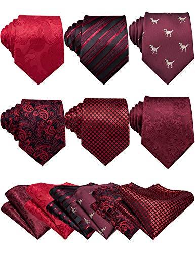 Barry.Wang Lot - Set di 6 cravatte classiche da uomo con fazzoletto di seta Colore: rosso Taglia unica