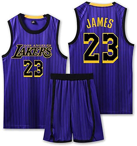Basketball Trikot für Lebron Raymone James No.23 Lakers Fans Basketball ärmellose Anzug Kinder Erwachsene schwarz lila Sportswear T-Shirt Weste + Shorts jugendlich weiß gelb Sweatshirt,Purple a,XL