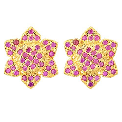 Efulgenz Pendientes de tuerca chapados en oro indio con circonita cúbica y diseño floral para mujeres y niñas