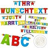 alles-meine.de GmbH XXL - 168 Stück - Buchstaben & Zahlen - Girlande / Wimpel - individuell selbst gestalten - Alphabet A-Z + Zahl 0 bis 9 - bunt - Geburtstag - Partygirlande Sch..