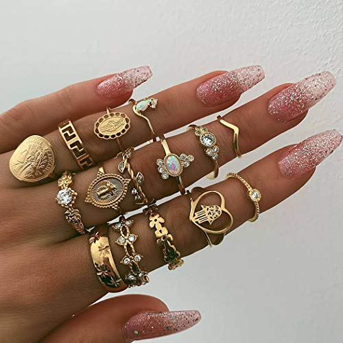 Victray Boho Rings Gold Hollow Carved Ring Set Stylish Fashion Bracelets Hand Accessories Jewelry for Women and Girls(15 PCS)