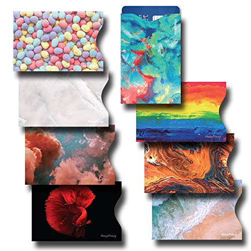 8 RFID Blocking Sleeves, Credit Card Protector, Anti-Theft Credit Card Holder, Easy to Recognize, Vivid Color Prints