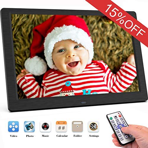 SEQI Marco Digital Fotos 10 Pulgadas resolucion 1920x1080, Full HD Pantalla IPS de Marcos Digitales Foto y Video/Reproductor de Audio/Reloj/Electrónico/Calendario, Mando a Distancia (Negro)