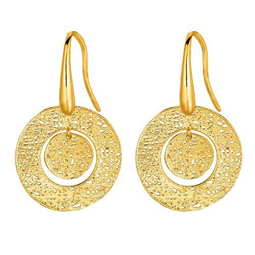 14kt oro amarillo pulido Unwinding soporte de como de malla círculo gota pendientes 'Stil Novo Collection'