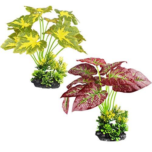 MyLifeUNIT Silk Aquarium Plants, Lifelike Artificial Leaves for Fish Tank Ornament, Sea Aquarium Decor Set, 2 Pack